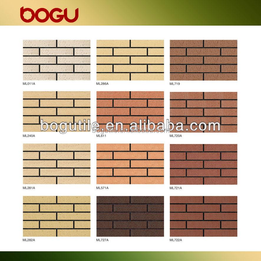 60x240mm exterior fachada split de pared azulejo refractario delgada exterior arcilla ladrillo - Azulejos refractarios ...