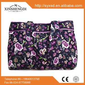 New product cotton floral quilted fabric foldable elle handbags