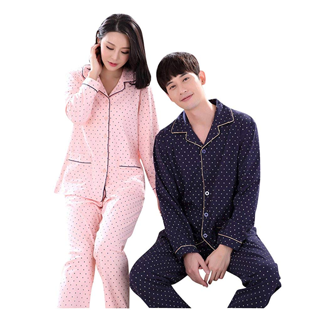 723e8410ff Get Quotations · Morver Matching Couples Long Sleeve Cozy Cotton Mens  Womens Pajamas Set