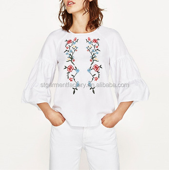 Women Embroidery White Blouse Top Summer Casual Half Sleeve Tunic Shirt Cheap Clothes Elegant Shirt Blouse STb-01129