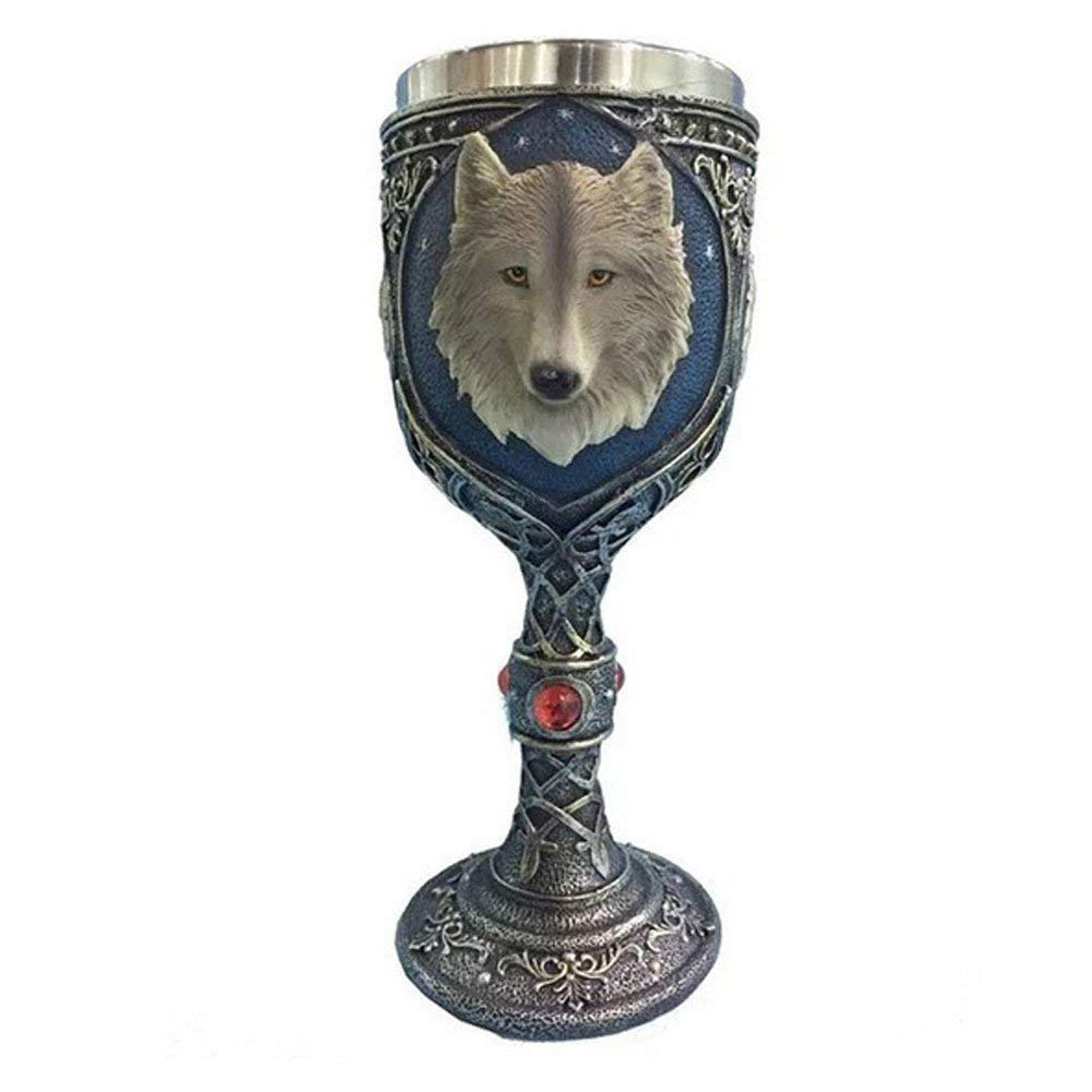 Wolf Goblet Novelty Engraved Wine Glass Metal Wolf Drinking Goblet 3D Wolf Head Coffee Cup Wine Goblet Drinking Cup (301-400ml,as shown)