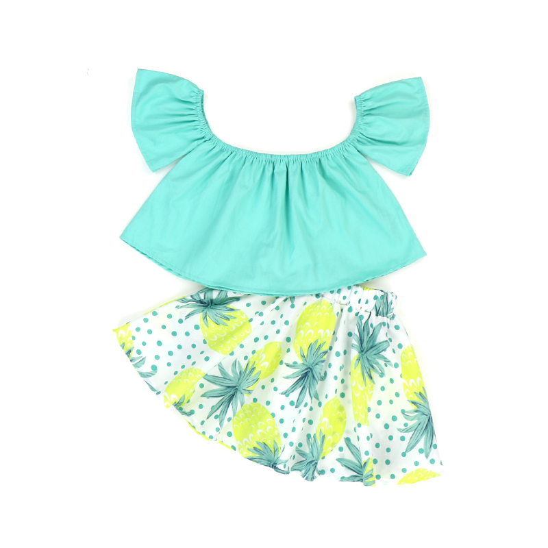 Wholesale children's boutique clothing Off Shoulder baby kids girls Floral Outfits summer clothes set