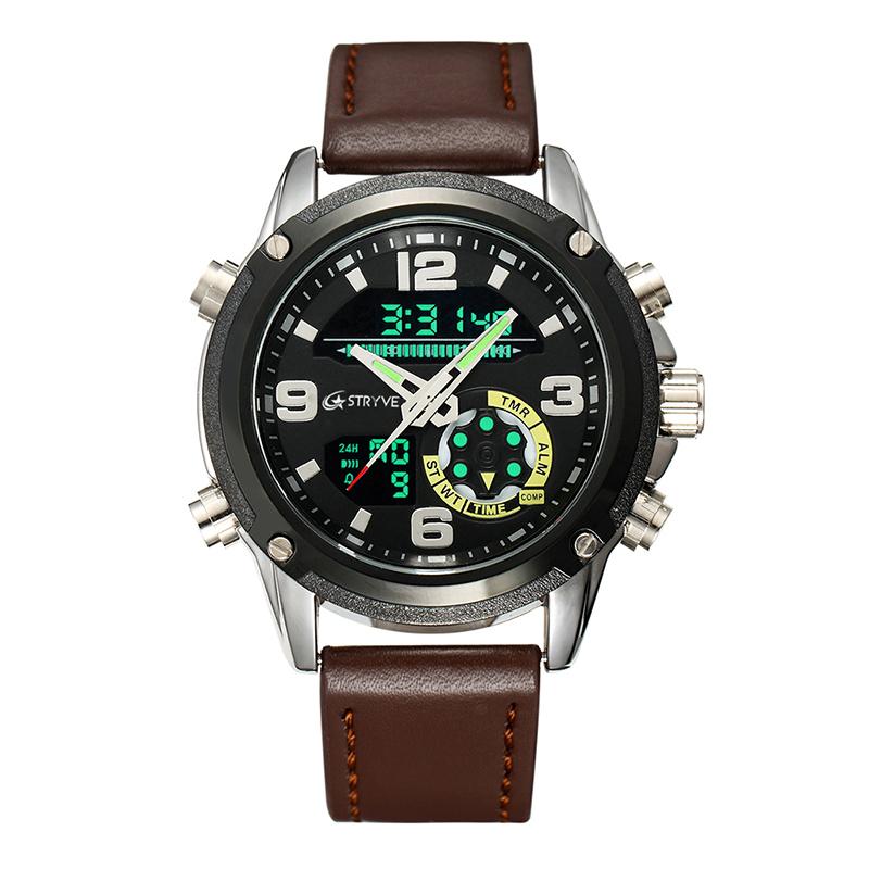 STRYVE Fashion  Men Sport Watches Mens LED Analog Digital Watch Army Military Leather Quartz Watch Relogio Ma