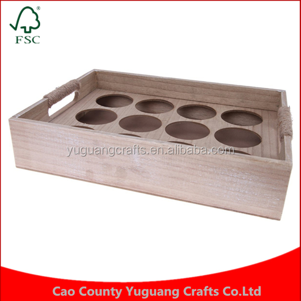 Custom made Tea Box Cup Holder Wooden Tea Cup 12 Slotted Beverage Box Tray wholesale