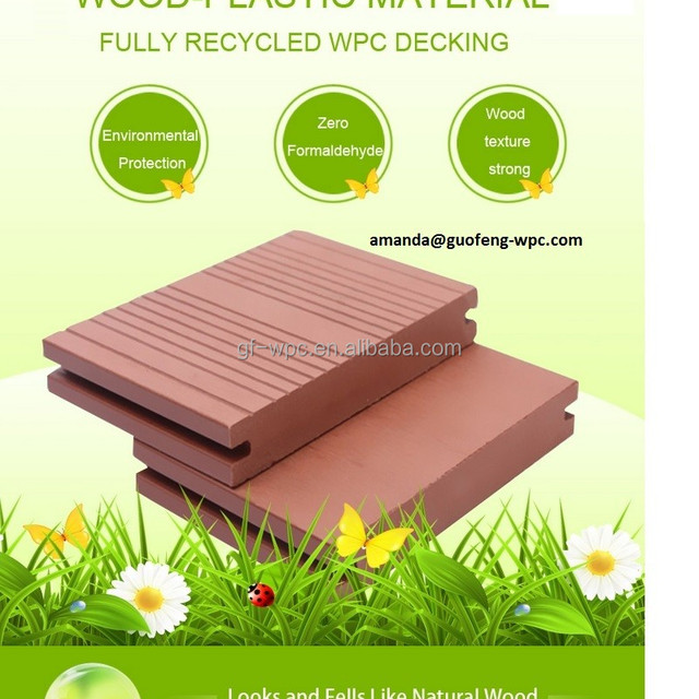 Hollow outdoor wood plastic decking anhui Cheaper wpc product