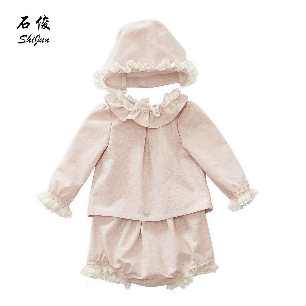 f80bb3a79 Shijun 2019 España estilo 3 unids conjunto de ropa de bebé de encaje ropa  de niño