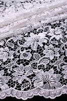 100% cotton white guipure lace cord lace fabric with sequins