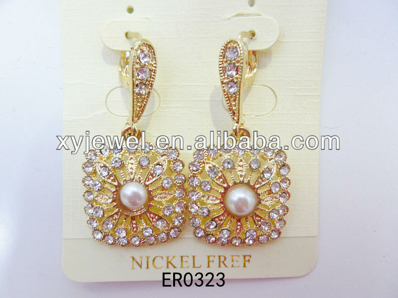 Clip on earring with 24k gold plated factory wholesale pearl earrings for girls
