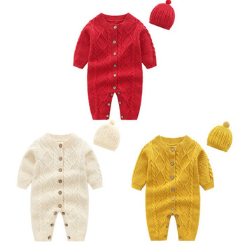 Wholesale Baby Clothes Long Sleeve Christmas Outfit braid style Baby Cute Romper sweater romper with hat