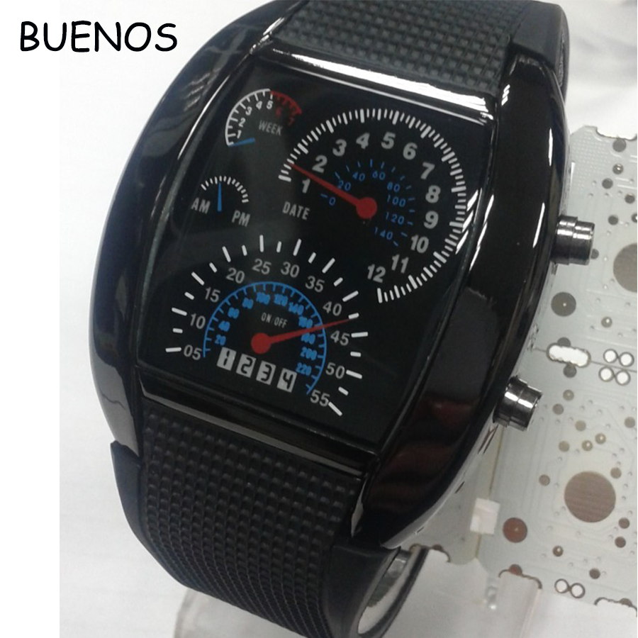 Fashion Fan-shaped Instrument Aviator LED Electronic Watch for men