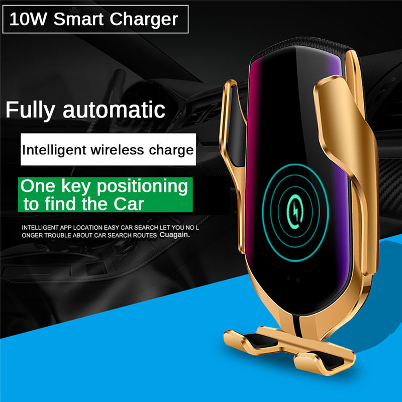 R1 Automatic Clamping Car Phone Holder 10W Qi Fast Wireless Car Charger for iPhone for Huawei for Samsung