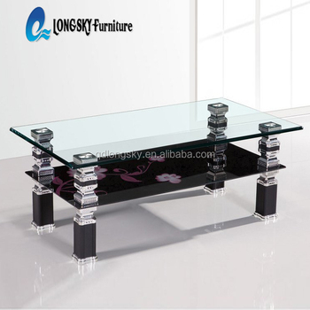 Ls 1077 Two Tiers Glass Coffee Table Metal Frame Coffee Table Living