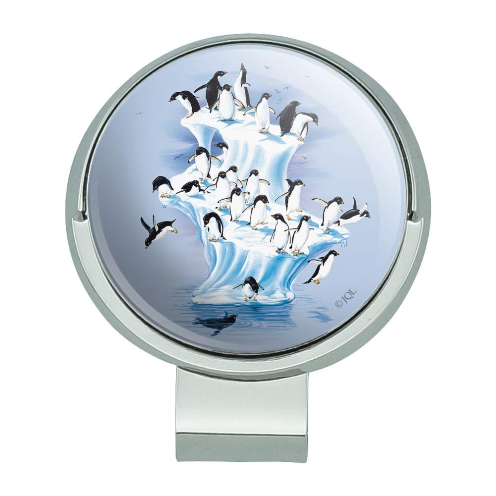 Graphics and More Emperor Penguin Iceberg Antarctic Golf Hat Clip With Magnetic Ball Marker