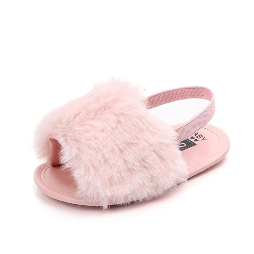 Hot Sale! Hongxin Flip Flops For Girls Newborn Infant Baby Letter Solid Flock Soft Sandals Slipper Casual Shoes Hook & Loop Birthday Gift Clearance (Pink, US:1.5)