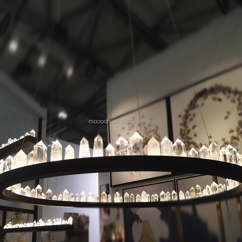 Modern Large Luxury Black Round Ring Natural Stone Crystal Rocks Chandelier For Hotel Lighting