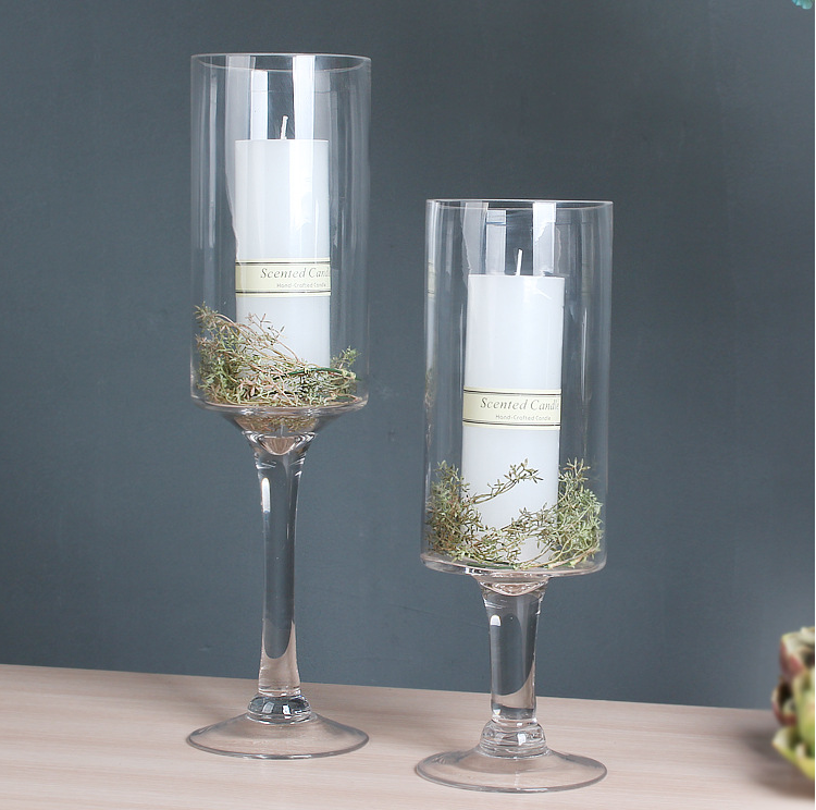 Decoration Tall Cylinder Glass Flower Vase With Stem For Home Wedding Table Centerpieces Buy