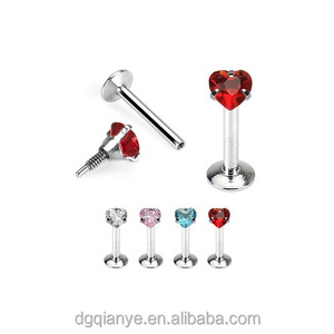 16G Unique Heart Prong-Set Surgical Steel Labret Piercing Jewelry Internally Threaded Lip Bars
