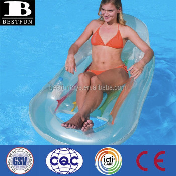 Transparent Inflatable Pool Chair Plastic Swimming Pool Chair Plastic Beach Pool  Lounge Chairs
