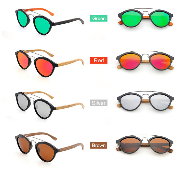 Sunglasses bamboo temples Summer Fashion Plastic wood sunglasses with different color lens