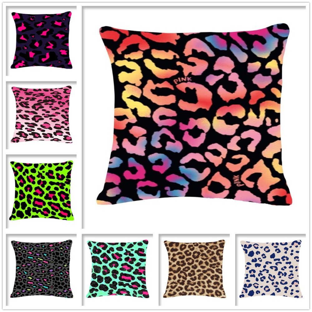 Vintage Linen Cotton Home Decoration Cushion For Sofa/ Car Luxury Leopard Grain Throw Pillowcovers Fundas Cojines K1200