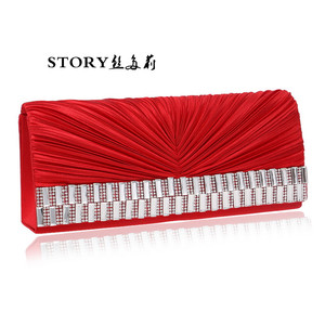 new fashion elegant wedding bridal woman party rhinestone ruffle small dinner handbags evening bags clutch purse