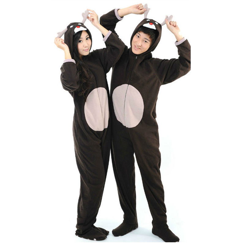 2015 christmas hooded adults animal footed pajamas for women autumn winter warm cotton fleece onesie