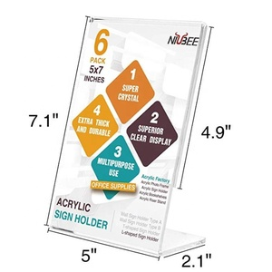 Acrylic Slanted Sign Holder Clear acrylic Picture Frame Ad Frame for Papers Brochures Display on Table- Vertical