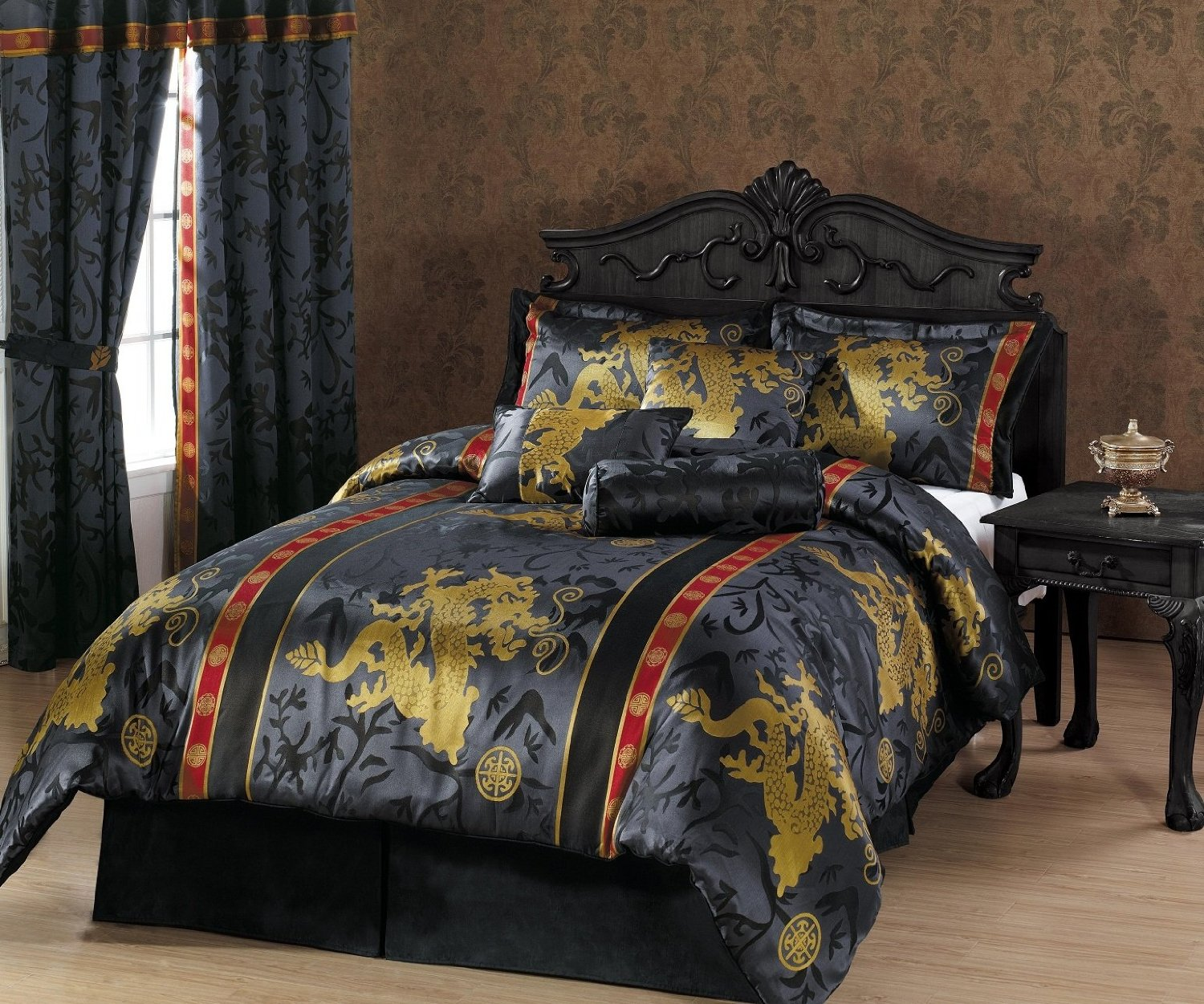 Get Quotations Chezmoi Collection 7 Piece Palace Dragon Jacquard Comforter Set King Black Gold