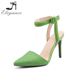 Summer Fashionable Green Slingbacks Ladies Footwear Leather Horse Fur Court  Shoes Women Ankle Strap US UK