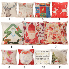 Christmas Series Pillow Cover Xmas Ambience Decorative Square Pillow Case Cartoon Santa Alphabet Owl Home Bed Supplies Gift