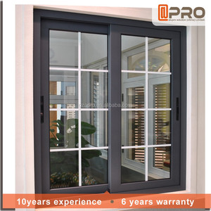 China high quality home windproof aluminum french windows double frame sliding sash window glass design picture with grill