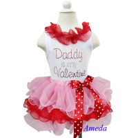 Girl Valentine's Day Light Pink Red Petal Tutu Plus Rhinestone Daddy is my Valentine White Tank Top 1-7Y