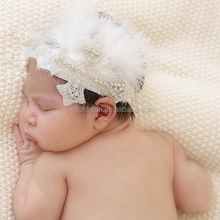 Rhinestone feather baby headband baptism headband white cross headband with  feather hair accessories Newborn Photo Prop cc109a2de20