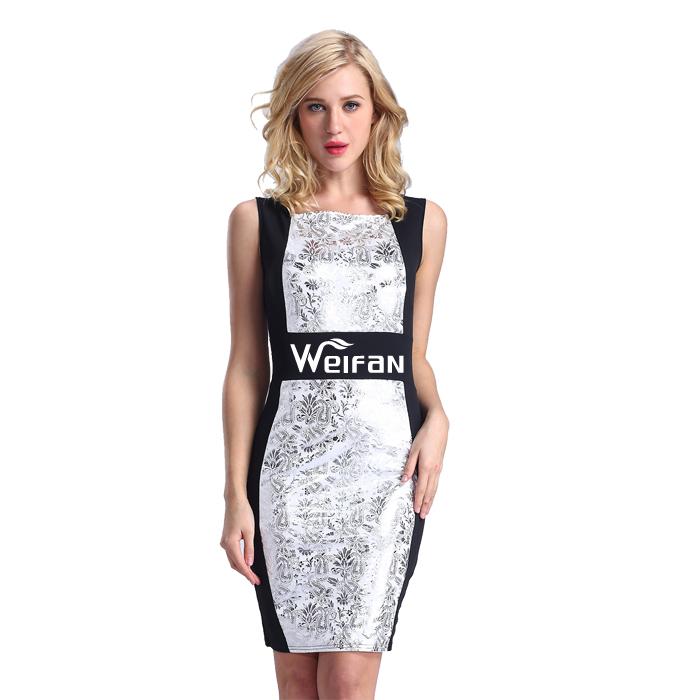 af365f11fcccc الفضة طباعة النساء فساتين جديدة الكورية أزياء سيدة اللباس الرسمي ...