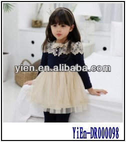 2014 Kids Girls Dress Wholesale Children's Boutique Clothing Baby Puff Sleeve Frock Designs New Design Kid Dress