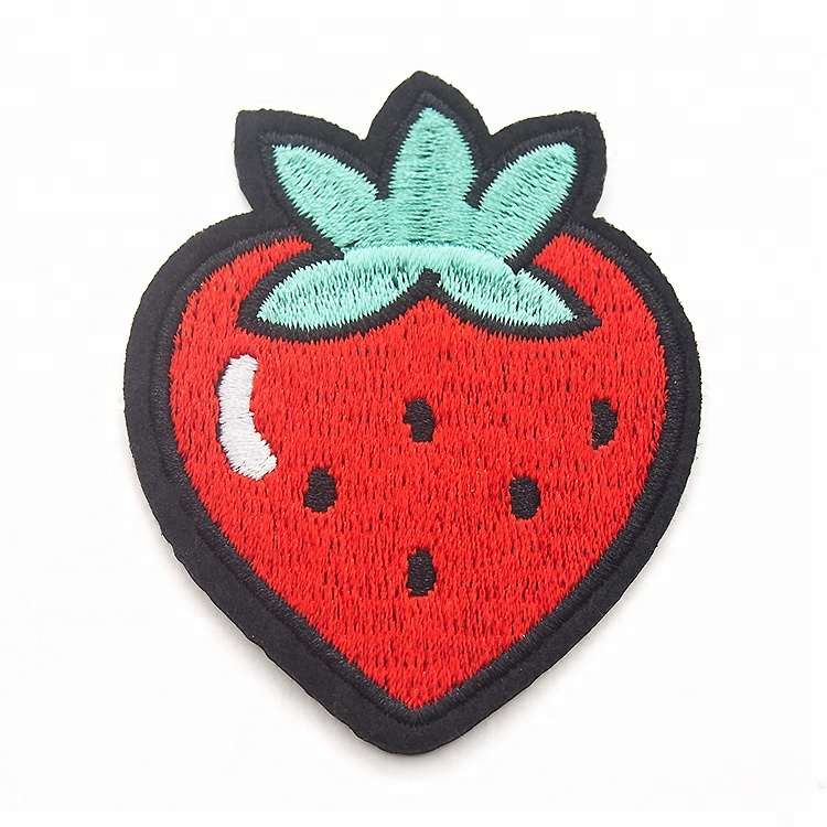 Fancy kids strawberry fruit embroidery felt patches