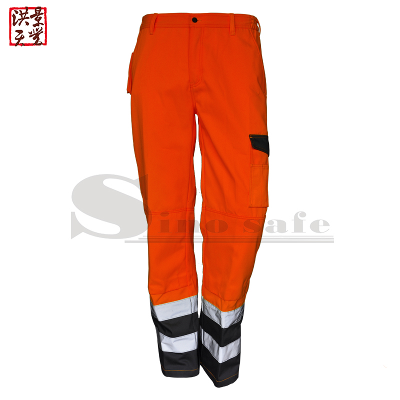 fluorescent <strong>orange</strong>/grey workwear trousers