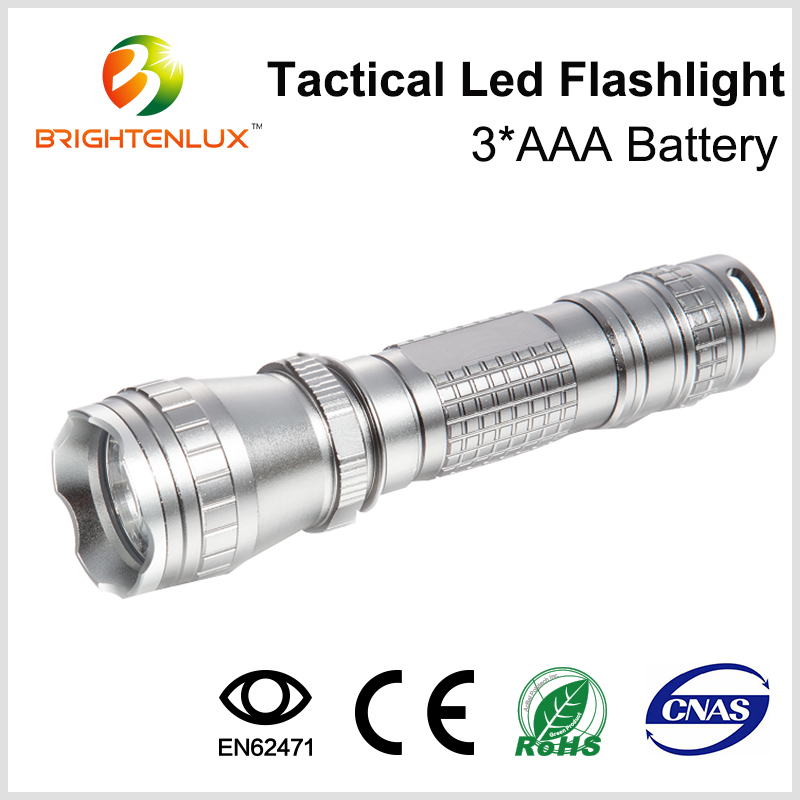 Factory Supply 3*AAA battery Operated Housing Aluminum Material White Light 5W america led Cree q5 Flashlight with Wrist strap