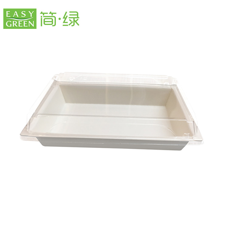 Compostable and biodegradable Japanese food paper sushi box with PLA lid EP-05