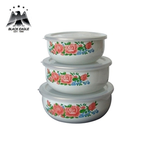 Promotional reusable flower outdoor mixing noodle enamel food storage ice bowl set
