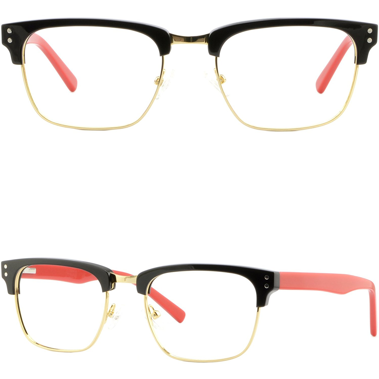 9ab7756868 Get Quotations · Square Browline Mens Womens Frames Prescription Glasses  Black Gold Spring Hinges