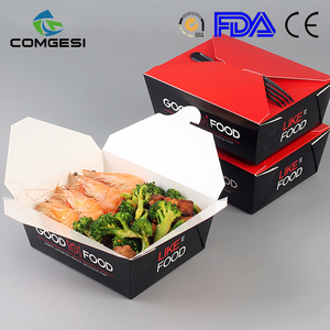 hot sale 2018 eco-friendly custom design logo paper food take out boxes disposable china factory fashion design