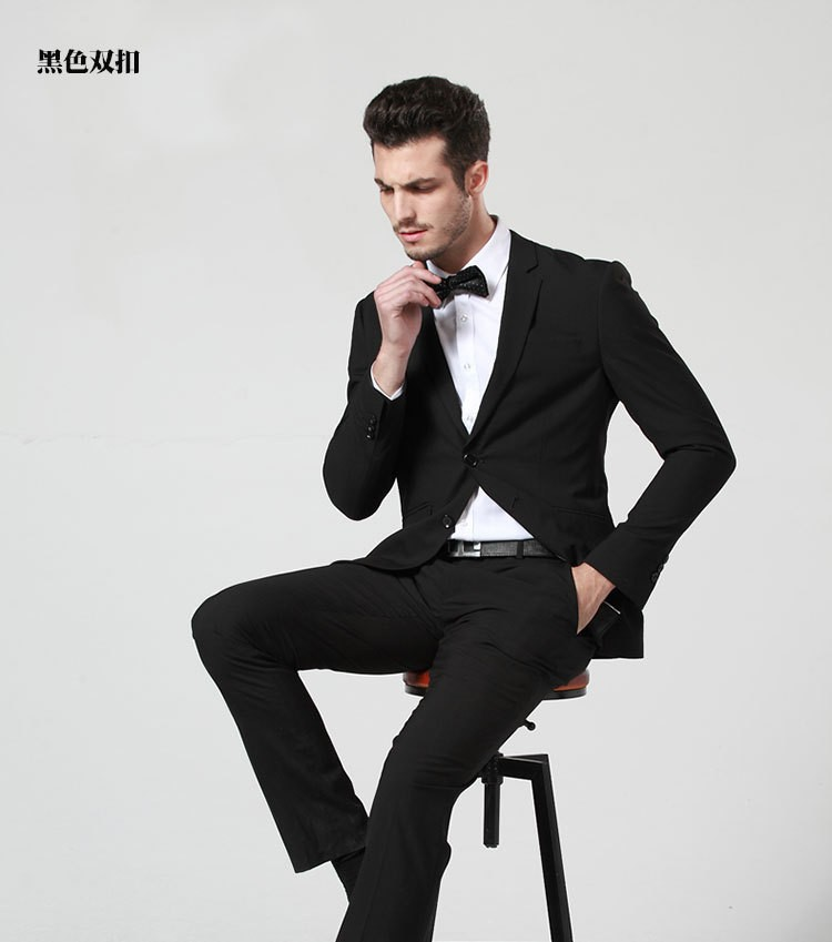 2016 Korea Style Men S One Two On Black Solid Suits Man Slim Fit Formal
