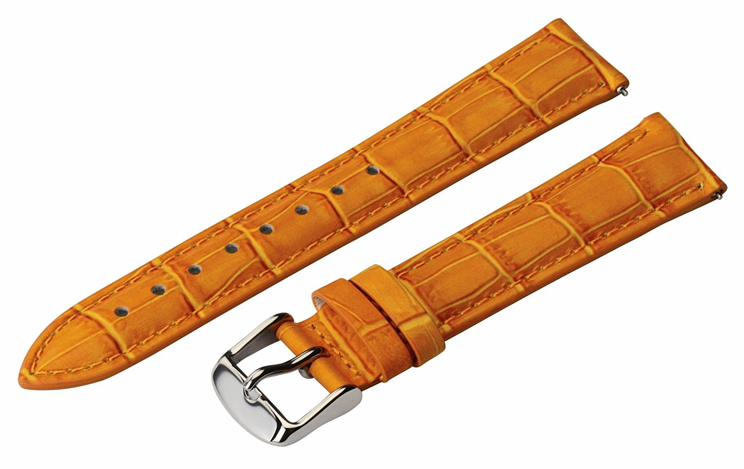 20mm 2 Piece Ss Leather Classic Croco Grain Solid Orange Interchangeable Replacement Watch Band Strap