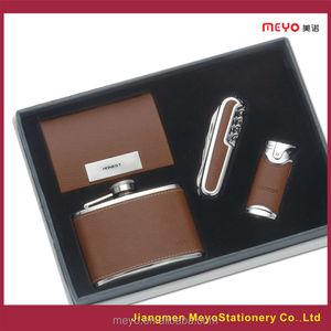 MEYO MT-492 Electric Lighter Business Card Holder And Stainless Steel Hip Flask with Leather Travelling knife by Business gifts