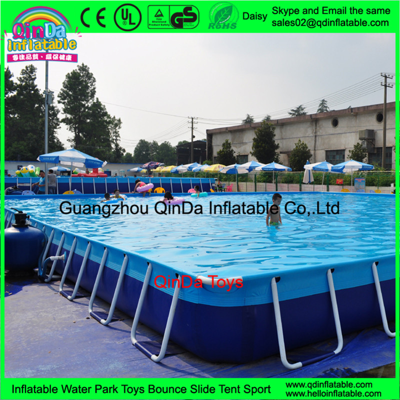 Portable giant rectangular metal frame pool steel plastic for Giant swimming pool