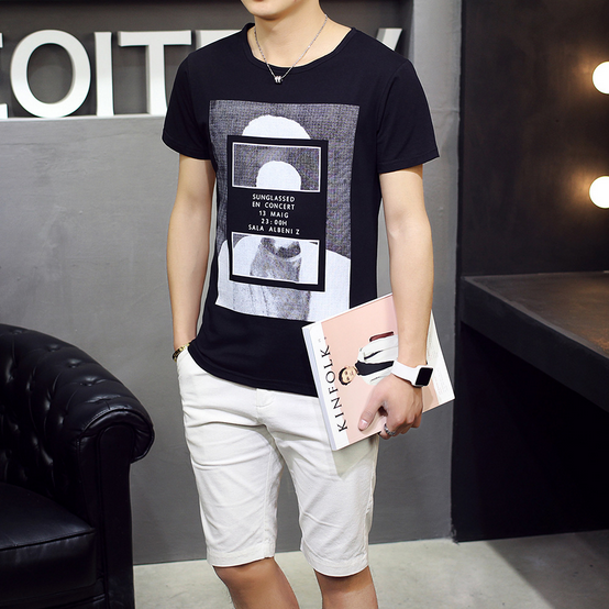Summer section round neck short sleeve male T shirt solid color trend simple Korean version of Slim students cotton bottoming sh
