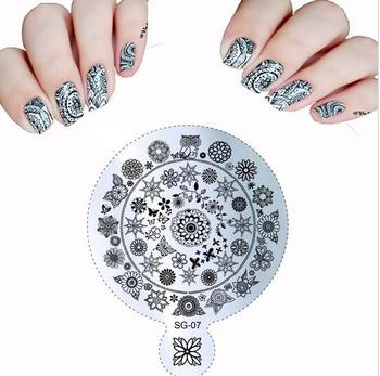 Hot 9114cm Sg 04 Flowers Nail Art Handle Templates Stamp Image