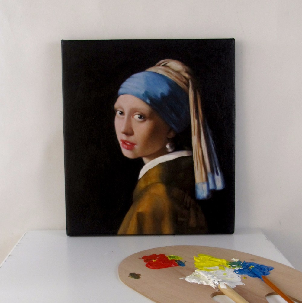 Girl with a Pearl Earring by Jan Vermeer u2art Handmade oil painting sample