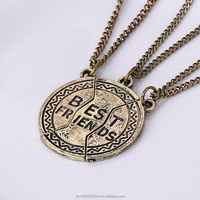 Best Friends necklace for 3/2 friendship coin antique bronze pendant necklace